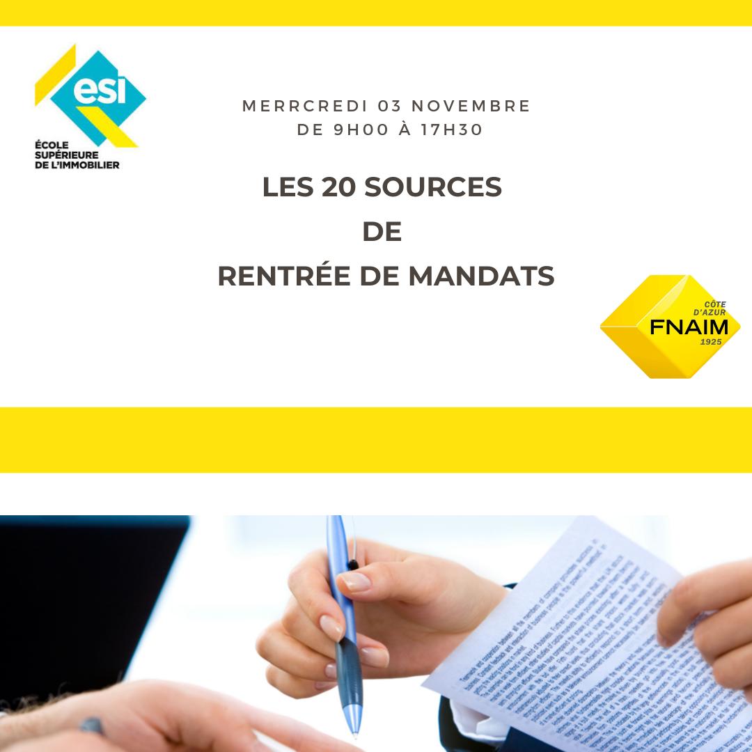 LES 20 SOURCES DE RENTRÉE DE MANDATS